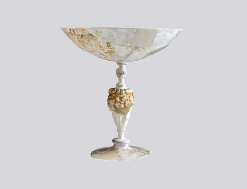 Calice in cristallo e foglia d'oro